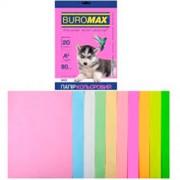 Папір кольоровий А4 для друку BUROMAX  80г/м2 , мікс , 10 кольорів, 20 арк.