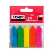 Закладки з клейким шаром пластикові Neon Axent 2440-01-A, 2440-02-А, 12х50 мм, 125 шт.(5 кол.х25шт.), асорті