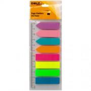 Закладки з клейким шаром пластикові на лінійці Neon Delta by Axent D2451,12х45 мм, 200 шт.(8 кол.х25шт.), асорті