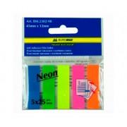 Закладки з клейким шаром пластикові Neon Buromax Jobmax BM.2301-98, BM.2302-98, 45x12 мм, 5х20(25) шт., асорті