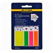Закладки з клейким шаром пластикові Neon Buromax BM.2308-98, 45х25 + 45x12 мм, 120 шт., асорті