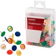 Кнопки кольорові Axent 4214-A, з пластиковим покриттям капелюшка, 100шт. у пласт.контейнері
