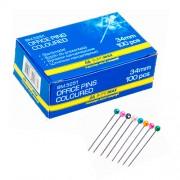 Шпильки кольорові Jobmax Buromax BM.5251, 34 мм, 100 шт. в карт.коробці